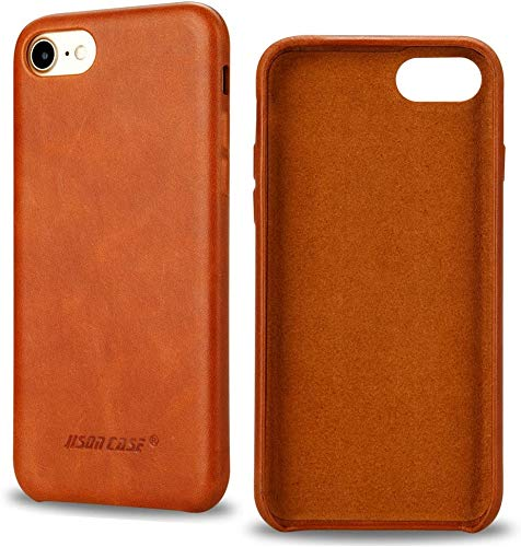 JISONCASE iPhone SE 2020 Case Leather, iPhone 8 Leather Case iPhone 7 Case Leather Slim Back Cover Snap Grip Case for Apple iPhone 8 / iPhone 7 (4.7 inches, Brown)(TC-IP8-01A20)