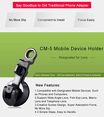 Suction Cup Holder Universal Connection CompraJunta Mount Universal Phone for Mini-Monocular with 17mm Eyepiece Diameter