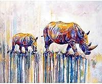 DMFNGJSD 数字油絵 フレームレス 、数字キット塗り絵 手塗り DIY絵-着色されたサイ 40X50cm