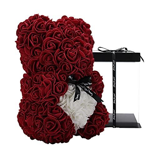 Rosenbär - Rose Teddybär 10 Zoll Hugz Teddy Blumenbär - Über 250 Dutzend künstliche Blumen - einzigartige Geschenke, Geschenke für Frauen Klare Geschenkbox (Wine red)