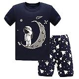 DAWILS Pyjama Jungen Kurz Baumwolle Sommer Astronaut Mond Schlafanzüge Zweiteiliger Nachtwäsche 5-6 Jahre