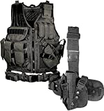 Bundle Includes 2 Items - UTG 547 Law Enforcement Tactical Vest, Black and UTG Special Operations Universal Tactical Black Leg Holster - Gen II