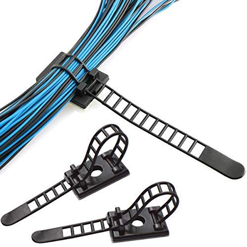 NATUCE 50PCS Reutilizable Organizador de Cables con Adhesivo, Ajustable Abrazadera de Cables, Clips de Cable Adhesivos, Organizador de Cables Clip para Cables en Hogar, Oficina y Coche