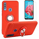 BLU Vivo XL6 Case with Tempered Glass Screen Protector, Rotating Ring [Magnetic Car Mount] [360°Kickstand] Holder [Fashion] Soft TPU Protection Cover Case for BLU Vivo XL6 / BLU V90 / BLU G80 (Red-1)