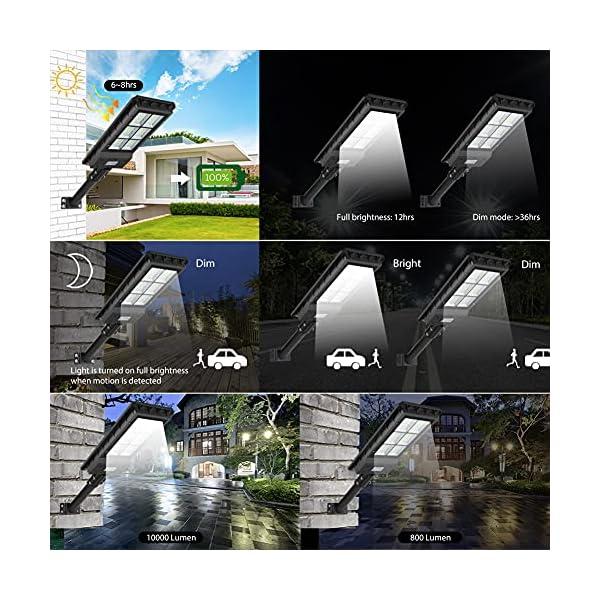 300W Solar Street Flood Light Outdoor Lamp, Motion Sensor Dusk to Dawn Monocrystalline Silicon Panel Solar Powered LED…