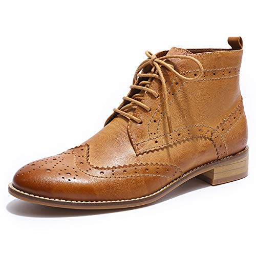 Mona flying Women's Leather Wingtip Boots Ankle Heels Fashion Lace up Booties with Low Heel