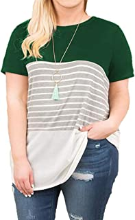 VISLILY Women's Plus Size T-Shirt Short Sleeve/Long Sleeve Striped Tee Shirt Tunics XL-4XL