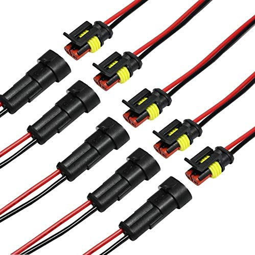 Auto Wasserdichter Elektrischer Steckverbinder, 5 Set 2-Polig Kabel Steckverbinder Stecker, Anschluss Stecker mit Draht, Verbindungsstecker Wasserdicht für KFZ/LKW/Auto/Roller/Motorrad