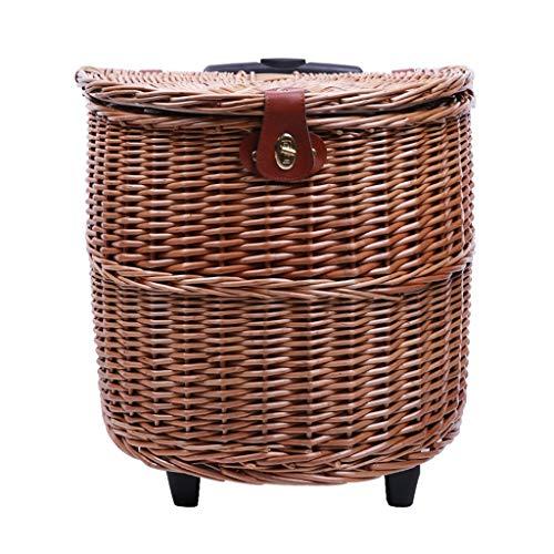 Picknickbedarf Körbe Koffer Outdoor Picknick Obstkorb Picknick Korb Obstkorb Handgezogener Picknickkorb Multifunktionale Roller Rattan Isolierter Korb Mit Geschirr Aufbewahrungsbox Picknick Requisiten