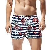 Men Swimwear Shorts,Jchen Mens Teen Boy Flower Print Swim Trunks Quick Dry Beach Surfing Running Swimming Shorts (XL, White)