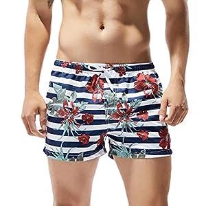 Racazing 速乾 ビーチパンツ メンズ ビーチ柄 サーフパンツ 巾着 男性 ハワイ ショーツ 夏 海パン 水着 パンツ 花柄 メンズ ビーチパンツ 水陸両用 ビーチ 旅行