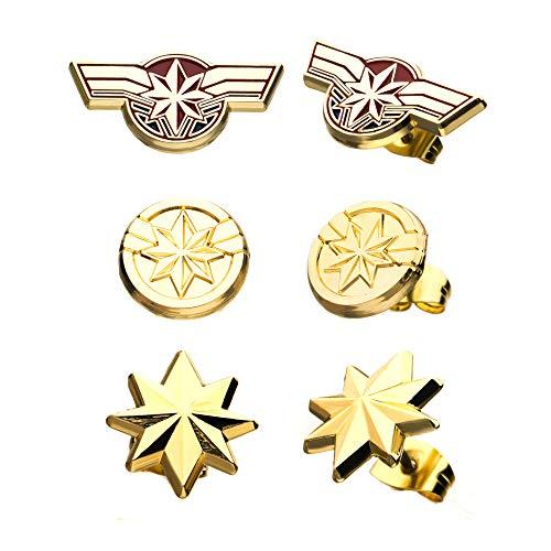 Marvel Captain Marvel Stud Earrings Set