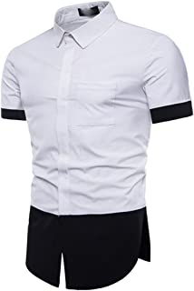 Men's Patchwork Buttons Shirt Slim Fit Short Sleeves Shirts Formal Top Blouse