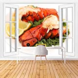 KEIRUNNRUGS Creative Window Wall Sticker Wall Mural Two Broiled Lobster Tails on a Bed of Kale with Lemon Slices Self Adhesive Removable Wall Decal Posters Wall Art Decor for Living Room 100x144inch