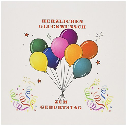 Image of Happy Birthday In German Balloons And Confetti - Greeting Card, 6 x 6 inches, single (gc_223460_5)