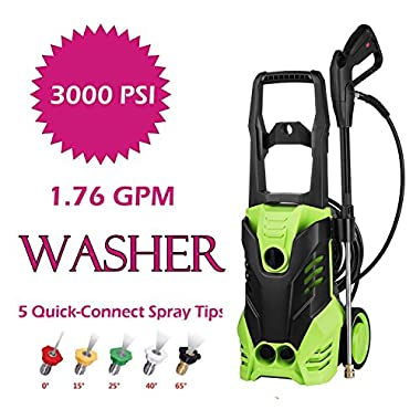 Oanon 3000 PSI Electric High Pressure Washer 1.76 GPM 1800W Electric Power Washer with 5 Quick-Connect Spray Tips (1800W)