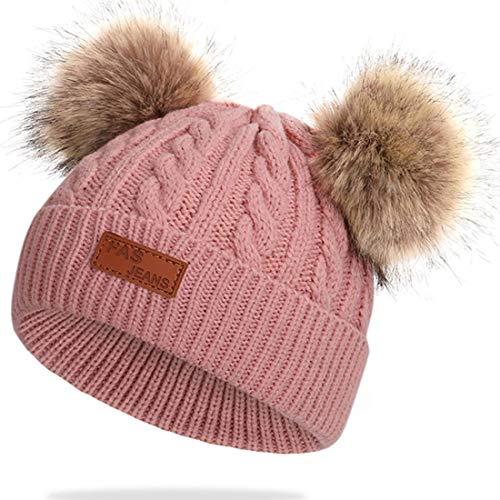 JFAN Sombrero de Invierno Bufanda para Niños Gorro de Punto para Bebés y Niños Pequeños Gorro de Invierno con Color Puro Sombrero de Doble Pompón para Niñas y Niños(B-Rosa,Talla única)