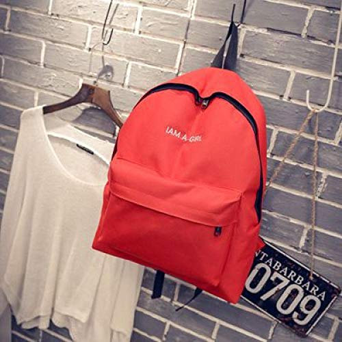 YOTAI Letter solid color Canvas Backpack girl schoolbag middle school student couple Backpack gules
