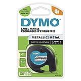 Dymo S0721750 LetraTag Cinta plástica, autoadhesiva, rollo de 12 mm x 4 m - Negro Print on Metallic Silver