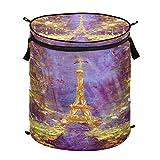 Hunihuni Watercolor Francia París Torre Eiffel Cesta de lavandería plegable para ropa sucia, cesta de almacenamiento con cremallera para baño, dormitorio, lavandería