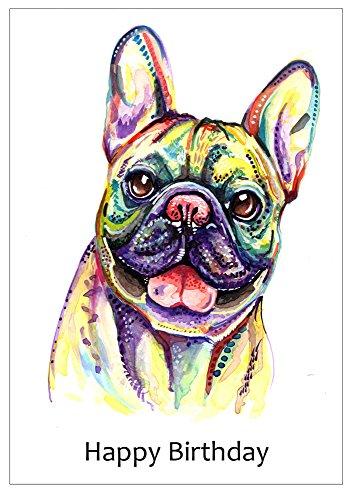 Französische Bulldogge Geburtstagskarte, French Bull Hund Geburtstag Geschenk–Custom Text