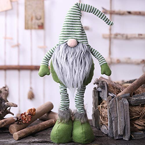 Mrinb Swedish Christmas santa claus,Knitted Striped Gnome Doll With Telescopic Legs Nordic Winter Elf Table Christmas Ornaments Swedish Santa Figurine Home Decor Gift