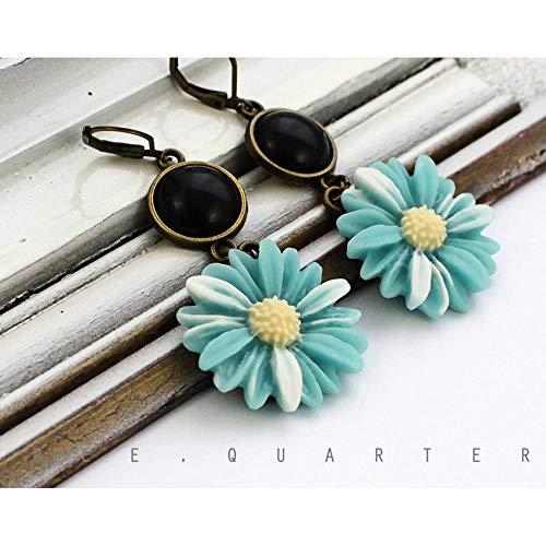 Margeriten, Ohrringe, hellblau, schwarz, türkis, Blüten, Geschenk, Sommer, stylisch, niedlich, süß, weiß, Blumen