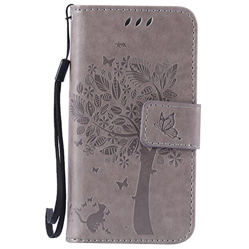 Snow Color iPhone 5S/SE/5 Hülle, Premium Leder Tasche Flip Wallet Case [Standfunktion] [Kartenfächern] PU-Leder Schutzhülle Brieftasche Handyhülle für Apple iPhone SE 5S 5 - COKT010005 Grau