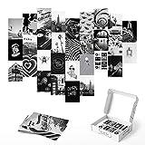 Haus and Hues Black and White Wall Decor Photo Collage Kit - Aesthetic Wall Collage Kit   Photo Collage Kit For Wall Aesthetic Teen Room Decor   Aesthetic Pictures for Wall Collage   4' x 6'