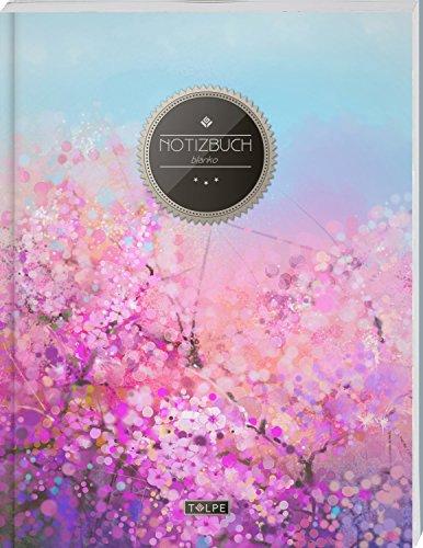 """TULPE Blanko Notizbuch A4 """"C080 Rosa Blumen"""" (140+ Seiten, Vintage Softcover, Seitenzahlen, Register, Weißes Papier - Dickes Notizheft, Skizzenbuch, Zeichenbuch, Blankobuch, Sketchbook)"""