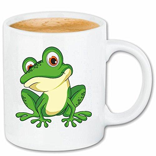 Reifen-Markt Kaffeetasse NIEDLICHER Frosch KRÖTE FROSCHKÖNIG FROSCHLURCHE KRÖTE FROSCHARTEN FRÖSCHE KRÖTEN MOLCH Keramik 330 ml in Weiß