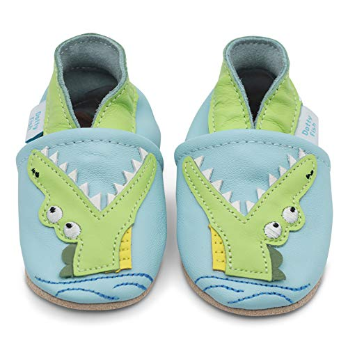 Dotty Fish weiche Leder Babyschuhe mit rutschfesten Wildledersohlen. 2-3 Jahre (25 EU). Hellblauer Schuh mit Krokodil. Kleinkind Schuhe.