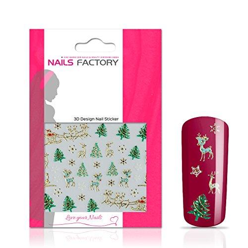 N&BF Nagelsticker Christmas Schlitten | Nagelaufkleber für Gel und Acryl Nägel | Nail Tattoo Motiv Schlitten Gold | Nail Sticker bunt | Nailart Nagel Transfersticker | Made in EU
