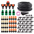DricRoda Drip Irrigation Kits, 131ft Irrigation Set DIY Micro Automatic Watering System with 4 Way Water Splitter, 1/4 inches Distribution Tubing Hose for Garden, Greenhouse