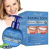 Backpulver Zahnpasta, Stain Removal Toothpaste, Fluoridfreie Zahnpasta, Reinigung der Zähne Beseitigung Zahnflecken zur gründlichen,Heidelbeergeschmack