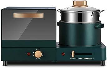 Horno electrico de sobremesa Mini horno Máquina de desayuno Home Multifuncional Sandwich Fabricante de pan vapor de alimentos Diseño compacto 1180W Herramientas de cocina multiusos Verde Pequeño ayuda