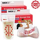 MEDca Breastmilk Storage Bags, 200 Count, BPA Free 6oz / 180ml - Baby Breast Feeding Accessories and Essentials