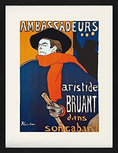 1art1 Henri De Toulouse-Lautrec - Aristide Bruant Dans Son Cabaret Gerahmtes Bild Mit Edlem Passepartout | Wand-Bilder | Kunstdruck Poster Im Bilderrahmen 80 x 60 cm