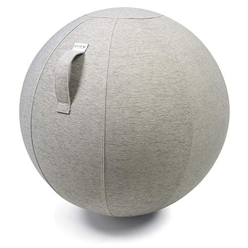 VLUV STOV Stoff-Sitzball, ergonomisches Sitzmöbel für Büro und Zuhause, Farbe: Concrete (grau), Ø 70cm - 75cm, hochwertiger Möbelbezugsstoff, robust und formstabil, mit Tragegriff