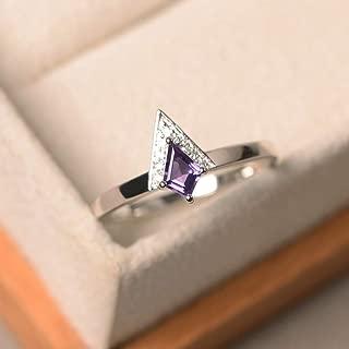 Genuine Amethyst Ring For Women Sterling Silver Kite Cut Handmade Jewelry Purple Gemstone Size 3-12