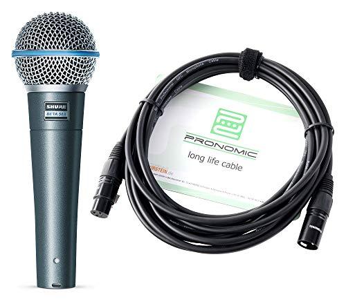 Shure Beta 58A Mikrofon Set - Gesangmikrofon mit Supernierencharakteristik - Übertragungsbereich: 50-16.000 Hz - Luftgefederter Erschütterungsabsorber - inklusive XLR-Kabel mit 5m Länge