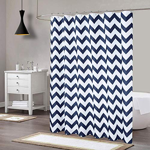 CAROMIO Extra Long Shower Curtain 96 inch, Chevron Striped Geometric Fabric Shower Curtain for Bathroom, Navy Blue/White, 72x96 Inch