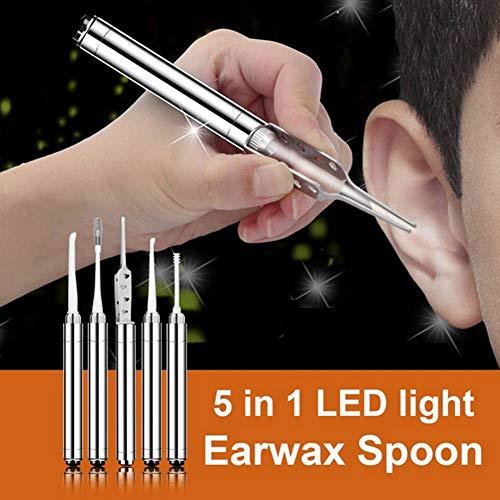 5 Teile/satz Taschenlampe Ohr Pick Luminous Ohrenschmalz Löffel Pinzette Ohr Reinigungswerkzeug Set
