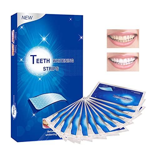 Zahnaufhellung Strips, White Stripes, Zahnbleaching Strips, Teeth Whitening Natural mit Minzgeschmack zur Verbesserung von Kaffee, Teeflecken und Erfrischung des Atems, 28 Stück