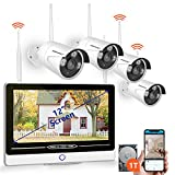 SMONET All in One with 12' Monitor Security Camera System Wireless,8-Channel 1080P Home Security System (1TB Hard Drive),4pcs 1.3MP Outdoor Wireless IP Cameras,P2P,Easy Remote View,Free APP