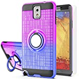 Galaxy Note 3 Case,Note 3 Phone Case with HD Screen Protector,AYMECL Ring Holder Gradient Dual Layer Protective Case for Samsung Galaxy Note 3 5.7 inch-BG Purple&Blue
