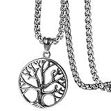 Flongo Collar Árbol de la Vida para Hombre Mujer, Collar con Colgante Acero Inoxidable Plateado Collar de Moneda Retro Vintage Cadena 56cm, San Valentin