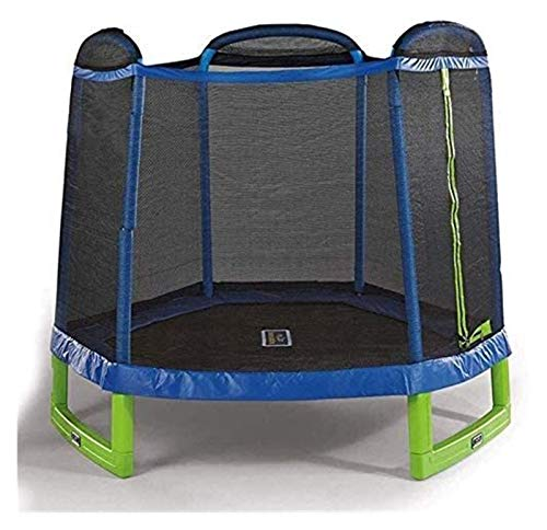 HLZY Toddler Trampoline with Enclosure - 7 FT Folding Kids Trampoline with Enclosure Net Jumping Mat And Spring Cover Padding Outdoor Trampoline
