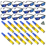 24 PC Spy Secret Agent Party Supplies Party Favor - 12 Spy Glasses, 12 (4.5-Inch) Disappearing Ink Pen Tubes, and 1 Triangle Eraser - Detective, Prizes, Treasure Box