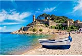 N/W Puzzle Jigsaw Rompecabezas 1000 Piezas De Bricolaje - Beach At Tossa De Mar and Fortress In A Beautiful Summer Day Costa Brava Catalonia Niño Adulto